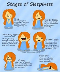 Stages of Sleepiness (LOL this is so me)