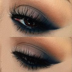 Eye make up Pretty Makeup, Love Makeup, Makeup Inspo, Navy Eye Makeup, Prom Makeup Blue Dress, Blue Eyeshadow For Brown Eyes, Navy Eyeshadow, Grey Smokey Eye, Fancy Makeup