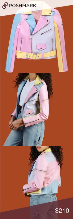 """Unif Pastel Moto Jacket """"Color-blocked panelling, full zip front, zip pocket, belt, and broken in vegan leather feel."""" Such an amazing jacket!! The Unif site says that the jacket runs """"slightly small"""" and I do agree, it hugs my shoulders a bit tight for it to be comfortable to wear personally, so looking for a new home for this beautiful piece! This is brand new still with tags!! Thank you for looking! :) UNIF Jackets & Coats"""