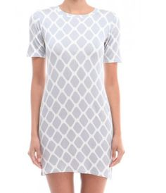 Grey and White Short Sleeve Crew Neck Dress