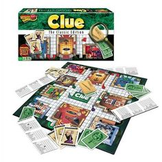 The suspects you know, in the mansion you remember, with the weapons you love! Yes, this is Classic Clue! Game board, 6 suspect tokens, 6 weapons, deck of suspect, weapon and room cards, confidential case file, detective notebook pad, die and rules. A classic!