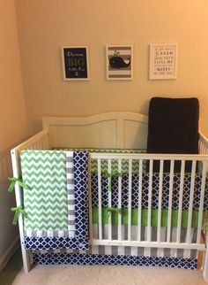 Baby Boy Crib Set Navy Kelly Green and Gray by butterbeansboutique