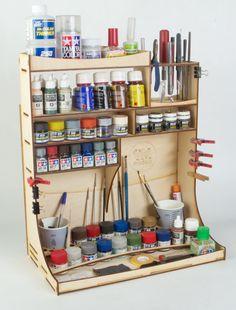 Organizador de madera contrachapada con rack para modelistas y artesanos