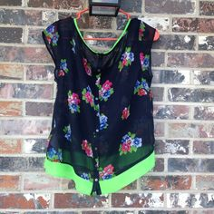 Floral hollister sheer top Needs a tank under - only worn a couple times !  Absolutely beautiful - the lime green really stands out!  Buttons on the back Hollister Tops Blouses