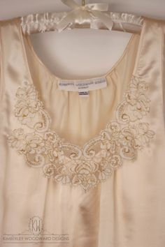   Behind the Seams   Just finished this custom-made pure silk camisole with lace appliqué for a very lucky mother of the groom to wear to her son's wedding along with her tailor made outfit. Can't wait to share photos!  xx KIMBERLEY WOODWARD DESIGNS #motherofthebride #camisole #lace #applique #wedding