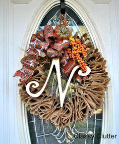 $5 Burlap Fall Wreath - Click for tutorial - Classy Clutter