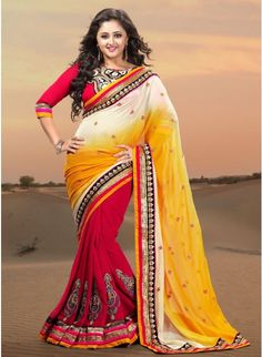 Beautiful Pink, Yellow & White Ombrey Georgette #Saree With Intricate Bootas on Bottom & Borders