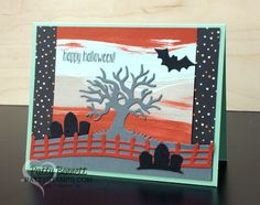 When I opened my Bold Botanicals August Paper Pumpkin kit, the first thing I thought of was a spooky sky!! Did you think of that, too? So I created some Halloween cards using the backgrounds and fo