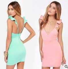 gaine bodycon sexy. volants v- cou, backless sans manches