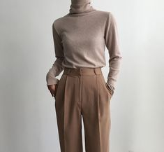 Minimal Neutral Outfit, beige turtleneck with brown trousers . Minimal neutral outfit, beige turtleneck with brown trousers , Minimal Neutral Outfit, beige turtleneck with brown pants Mode Outfits, Office Outfits, Casual Outfits, Fashion Outfits, Fall Outfits, Chic Office Outfit, Office Attire, Outfit Work, Office Chic