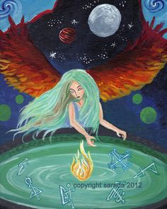 Fire angel moon pool gothic art 8 x 10 print by ArtBySarada