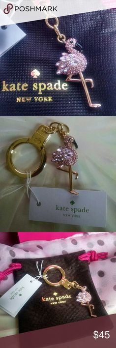 Kate Spade Flamingo Key Chain Omg adorbs!!!! The chicest flamingo EVER! NWT and an amazing gift for a KS fan or just someone who loves the Las Vegas showgirl of all birds, the beautiful flamingo.  So much fun clipped to a bag or key ring for a daily dose of fun and sparkle. Light pink rhinestones with black enamel beak and black rhinestone eye, flamingo body is rose gold tone and key ring and chain is yellow gold tone. 100% authentic. Comes with dust bag! Fast shipper!!!!! kate spade…