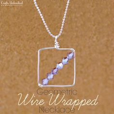This wire wrapped beaded necklace is a great project for anyone getting started in wire wrapping. The simple geometric design is so pretty & fun to make!