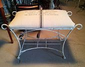 French Country Style Vintage Vanity Seat / Bench