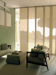 "I love these Hunter Douglas ""Sky Line"" Window Treatments! Love Decorating ""Contemporary""! The ""stack back"" is only a few inches. Many of our contemporary customers use ""Sky Line"" in large windows!! Love it!!"
