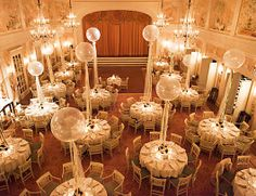 wedding tables with balloons could colour theme these or fill with glitter to pop at midnight