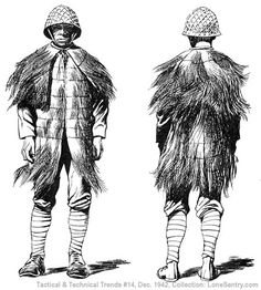 The garment shown in the accompanying sketch was captured in the Solomons area. A number of similar garments were found packed in bales, and in at least one instance, one was found on a Japanese sniper shot out of a palm tree by U.S. marines. It is made from the shaggy, reddish-brown fiber that grows at the base of the fronds of the coconut palm tree. Sheets of this fiber are sewed together to form the garment.