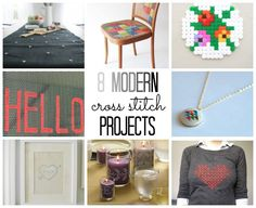 16 different modern cross stitch projects (two sets of 8) | via @thecraftblog