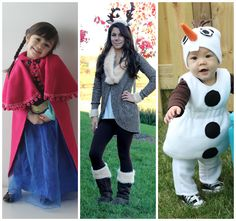 Fun DIY frozen costumes.  Princess Ana, sven and olaf.  Tutorial and tips on the post.