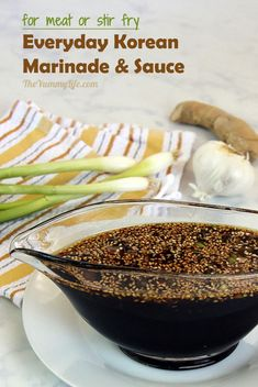 The flavors of Korea in one easy, basic, multipurpose sauce for bulgogi, marinating meats, flavoring stir fries and noodles, and drizzling on rice. This recipe is a short-cut for adding authentic flavor to lots of Korean recipes. From The Yummy Life