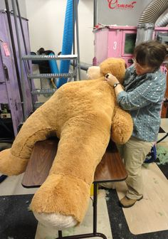 Big Hunka Love Bear being stuffed!