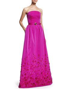 B33T7 Oscar de la Renta Strapless Floral-Embellished Belted Gown, Magenta