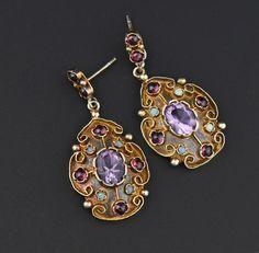 Amethyst Garnet Cabochon Opal Earrings, Gold Vermeil #Natural #Gold #Garnet #Earrings #Opal #Etruscan #Sterling #Silver #Vermeil #Amethyst