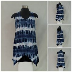 Sizes M & XL navy blue tie dye tunic length tank top with scoop neck and asymmetrical hemline in bamboo blend fabric. by qualicumclothworks on Etsy