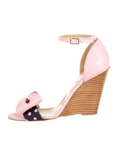 Light pink leather and blue denim Red Valentino wedges with bow detail, polka dots at toe box strap, stacked heels and buckle closure at ankle strap. Includes dust bag.