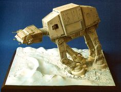 """MPC/Ertl Imperial Walker -  The 9"""" x 12"""" base has vacuum-formed snowdrifts from AMT/Ertl's """"Space: 1999"""" Moonbase Alpha and """"Star Wars"""" Battle of Hoth Action Scene, along with spackle scooped around the walker's feet."""
