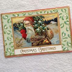 Brown Robe Santa Claus Postcard 1907-15 Father Christmas Gold Trim Germany #Christmas #santa #postcard