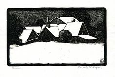"""Herschel C. Logan A black ink on long fiber board paper woodcut of snow falling on a country house, by Herschel Logan. Logan, one of the Prairie Printmakers, executed this work in 1930. According to Logan, this was """"taken from an early photograph."""" Logan was born April 19, 1901 in Magnolia, Missouri, and the family moved to Winfield, Kansas, shortly afterwards. He attended the Chicago Academy of Fine Arts. He worked as an advertising artist in Salina until his retirement in 1968."""