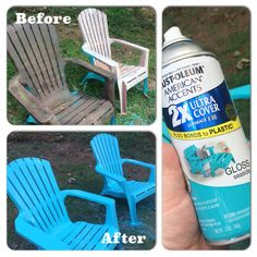 Painted my old, plastic adirondack chairs with Rustoleum's American Accents 2x ultra cover. They look brand new!