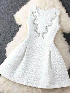 Beaded Neck Sleeveless Dress ♦F&I♦ Dresses For Teens, Casual Dresses, Short Dresses, Fashion Dresses, Prom Dresses, Formal Dresses, Sleeveless Dresses, Quinceanera Dresses, Christmas Dress For Teens