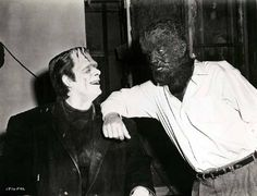 Glenn Strange and Lon Chaney Jr. on the set of Bud Abbott Lou Costello Meet Frankenstein