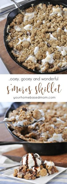 S'mores Skillet ~ chocolate, marshmalllows, and layers of graham cracker crumble | YourHomebasedMom.com