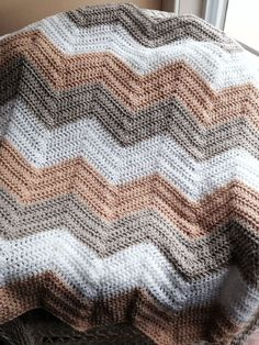 CROCHET handmade baby blanket afghan lap chevron ripple VANNA beige yarn neutral #handmade