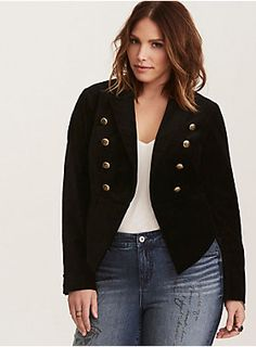 """People will be saluting  you  in this jacket! Rich, sumptuous, fancy black velvet lends edge to the military inspired silhouette, complete with a cut away front that can be hook-closed. The gold tone military embossed buttons add a hint of gleam (not to mention, authority).     Model is 5'9.5"""", size 1     Size 1 measures 27"""" from shoulder  Cotton/spandex/polyester  Wash cold, dry low  Imported plus size blazer"""