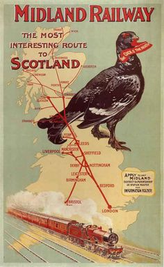 Midland Railway Interesting Route To Scotland - Vintage Railway Posters Wallpaper Image