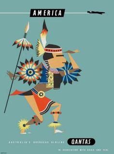 Qantas America travel poster Harry Rogers - Indian