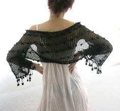 COTTON SHRUG  ....Elegant Hand Knitted Summer Shrug in  Black