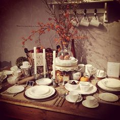 This gorgeous fall landscape by Royal Crown Derby features versatile all-white dinnerware and serveware.