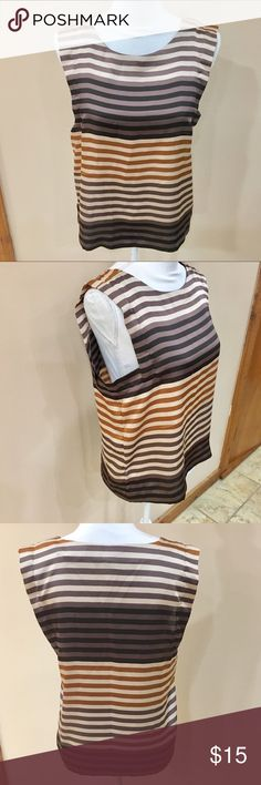 Gap Earth Colored Stripe Shell NWT Size 6. Just got this from another posher today. Not sure what I was thinking but I am not a size 6, but I wish I was because the shirt is so cute. Super silky feeling with a cool design. Would look great dressed up or down and match so much. Brand new w tags. Bundle for best deals! GAP Tops