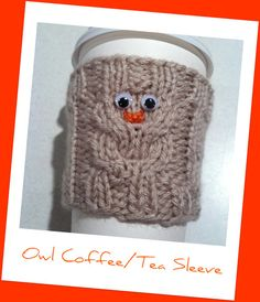 Owl  Hand Knit Coffee or Tea Cup Sleeve Cozy by skymomkc on Etsy, $8.50