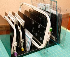 Storage ideas for embroidery hoops and quilt rulers.