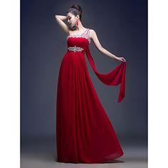 A-line One Shoulder Floor-length Georgette Evening Dress (LF230) - EUR € 45.45