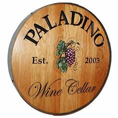 Personalized Reclaimed Wine Barrel Head with Wine Cellar and Grapes at Wine Enthusiast - $349.00