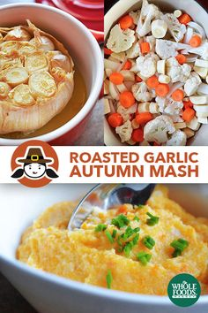 """Roasted Garlic Autumn Root Vegetable Mash: I know the name's a tongue twister—trying saying it three times fast!—but I figured """"Orange Veggie Surprise"""" wouldn't do this dish justice. If you're too..."""