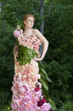 dress created out of flowers