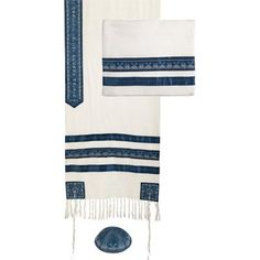 Yair Emanuel Blue Stripes Embroidered Cotton Tallit Set with Kippah 20 W X 75 L -- More info could be found at the image url.
